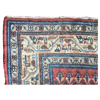 "Vintage Persian rug. C1930.Traditional Boteh field with tribal motif border. 4'10"" x 3'2"" area rug. Soft colors"