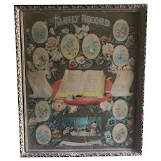 Vintage Framed Family Record Of Marriage Print Document Earliest Date Is 1845 For The Jones Family