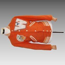 Vintage Girls Orange And White Athletic Letter Jacket Possibly Warren Central High School SPARTANS