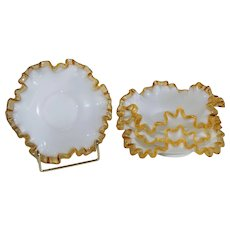 Vintage 1950s Lot Of 4 Fenton Gold Crest Bon Bon Dishes White With Gold Edge