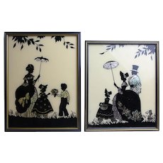Vintage Lot Of Two Different 1930s Silhouette Wall Hangings Pictures By Reliance With Original Frames
