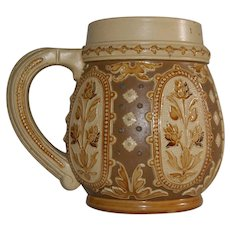 Vintage 1840s Villeroy And Boch METTLACH Half Liter Stein With No Lid Crown And Blanket Pattern Mold Number 1816