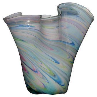 Collectible Art Glass Cased Glass Cone Shaped Vase With Blue White Pink And Green Swirl Motif Unmarked