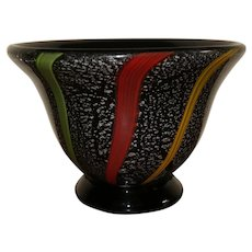 Collectible Art Glass Cased Glass Console Bowl Or Vase Black Amethyst With Mica Flake And Yellow Green Blue And Red Stripes
