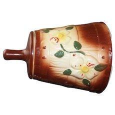 Vintage 1940s MCCOY Butter Churn Shaped Cookie Jar With Floral Vines Motif