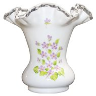 Vintage Fenton Silver Crest Vase With Hand Painted VIOLETS IN THE SNOW Pattern Hand Painted By D BARBOUR With Embossed Mark On Bottom