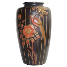 Vintage 1940s Large Ceramic Vase MADE IN JAPAN With Black Background And Orange Stripes With Embossed Multi Color Flower And Bird Motif