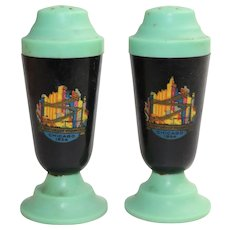 Vintage Worlds Fair A Century Of Progress Salt and Pepper Shakers 1933 To 1934 Black And Green Plastic