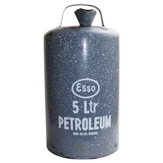 Vintage 1950s Gray Mottled Enamelware ESSO 5 Liter Petroleum Can With White Lettering