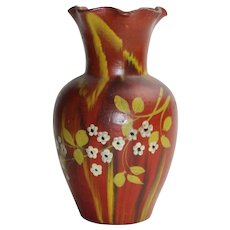 Vintage 1800s Old Redware Ceramic Vase With Hand Painted Multi Color Floral Design Unsigned