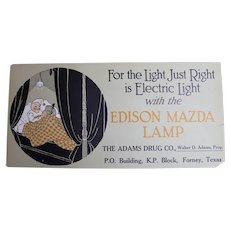 Vintage 1900s To 1920s Edison Mazda Lamp Advertising Rectangular One Sided Trolley Sign