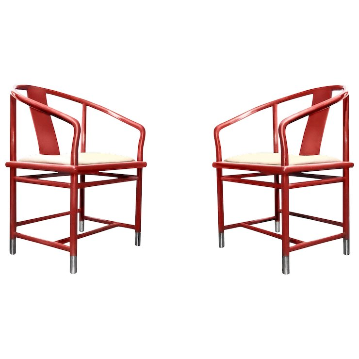 Modern Chinoiserie Brueton Red Ming Chair With Chrome Accents