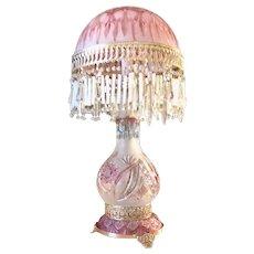 Art Deco style Cut Ombré blush Cut crystal table lamp