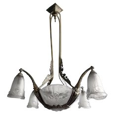 French Art Deco Ash Pressed Glass & Bronze Chandelier by Pierre Gilles
