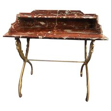 Antique Louis XV Rouge De Rance Marble and Gilt Iron Swan-Legged Serving Table Desk Vanity Dressing Table