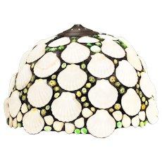 Art Deco Seashell and leaded glass pebbles pendant light