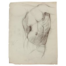 1909 Torso Study Charcoal Drawing by John Joseph Owens