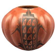 1980s Pueblo Americana Folk Art Juanita Fragua Jemez Puebla Pottery Bowl