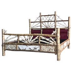 1998 Rustic Adirondack Americana Handmade Peter Winter Birch Bed Frame Sculpture