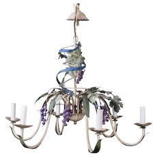 French Country Toleware Mid-Century Grapevine Modern Trompe l'Oeil Chandelier