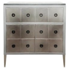 Italian modern Mageia brutalist steel and slate chest of drawers