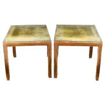 Vintage Regency modern mink umber silk velvet side table