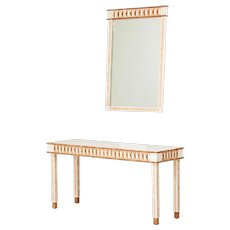 Tessellated marble Modern Neo Classical Console table and mirror