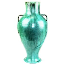 Monumental Arts and Crafts style hand-thrown amphora with malachite finish