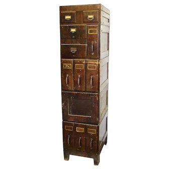 1910's Birch and Oak File Cabinet and Cupboard