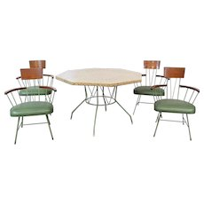 1950's Richard McCarthy Wrought Iron and Ash Dining Table & Chair - Set of 5
