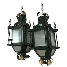 19th Century Parisian Gilt Iron Lantern Fixtures - A Pair