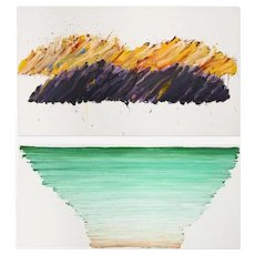 1978 Vintage Vera Klement Modern Miy Sea (Diptych) Oil on Canvas Painting- 2 Pieces