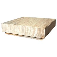 Milo Baughman Monolithic Travertine Coffee Table