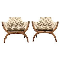 Dorothy Draper Hollywood Regency Throne Cerule Chair Pair
