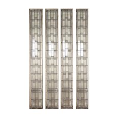 1920s Leaded Glass Prairie Light Screens in Iron Frames - a Pair