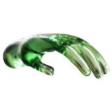 Mid-Century Seguso Murano Green Glass Hand Sculpture