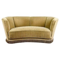 1940s Danish Art Deco Velvet Banana Loveseat