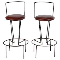 1950's Frederic Weinberg Wrought Iron and Leather Bar Stools