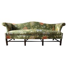 Baker Furniture Jacobean Chintz Camelback Sofa