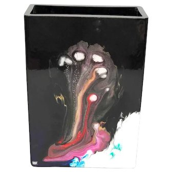 KOSTA BODA Black Art Black glass vase with metallic and colorful elements