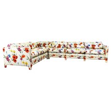 Mid Century Modern WJ Sloane Poppy, Iris and Daffodil Sectional Sofa