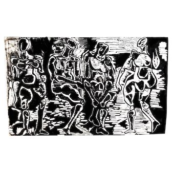 1950's Abstract Expressionism Woodblock Print on Handmade Paper