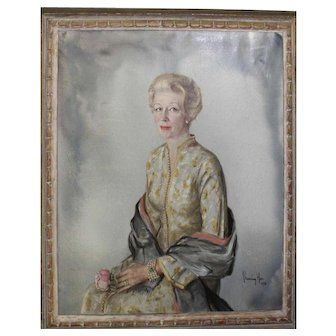 Mid century portrait of a lady by Channing Harr oil on canvas