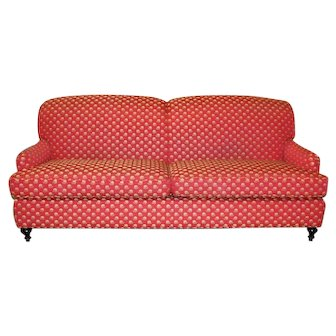 Hepplewhite Red Floral Mahogany Sofa