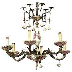 Italian Gilt metal and porcelain chandelier