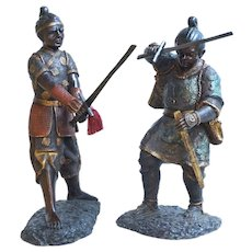 Pair of Early 20th Century Bronze Samurais