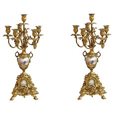 Pair of Sevres Style Porcelain with Mounted Gilt Bronze Candelabras