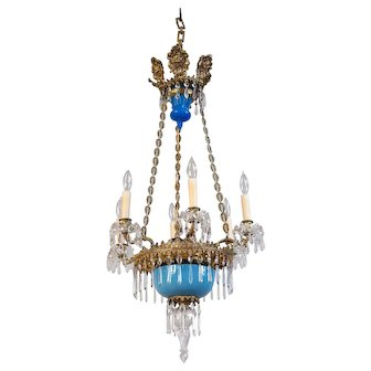 Circa 1890 French Victorian Chandelier - Baby Blue Opaline Glass, Crystal and Embossed Brass