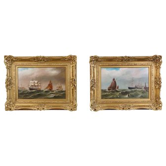 """""""Rough Seas"""" Pair of Oil on Board Seascapes, Attributed to William Broome (English 1838 - 1892)"""