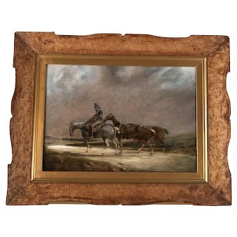 """Horace Vernet  """"French Cavalier on Horseback Leading Weary Horses Along an Open Country Road"""" Oil on Canvas"""
